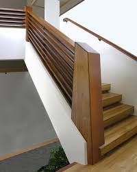contemporary wood stair railing beautiful chunky with a mid century andor art deco modern feel staircase n2 wood