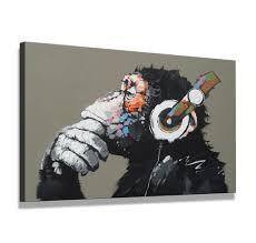 80 X 60 Cm Bild Auf Leinwand Affe Mit Kopfhörer 4002 Sct Deutsche Marke Und Lager Die Bilder Das Wandbild Der Kunstdruck Ist Fertig Gerahmt