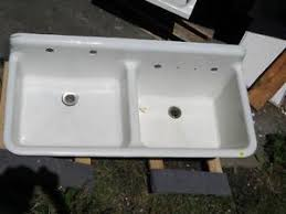 antique vintage kitchen farm sink double basin 46 cast iron
