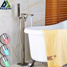 brushed nickel square floor standing bathtub faucet led color changing one handle handheld shower tub mixer