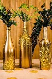 Glittered Decorated Wine Bottles