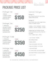 Photography Package Price List Template Wedding Free – Imaginarapp