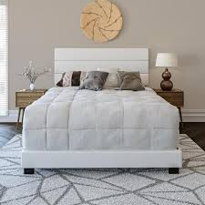 rest rite vivian faux leather white twin upholstered platform bed frame