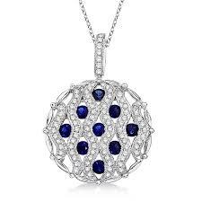 sapphire diamond circle pendant necklace 14k white gold 1 55ct cbp366