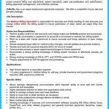 Billing Specialist Job Description Resume Medical Billing Specialist Job Description Fred Resumes 6