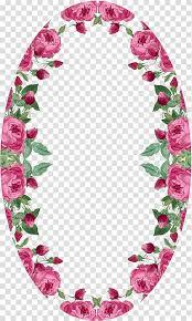 Paper With Flower Border Oval Pink Flowers Border Art Paper Flower Pink Rose