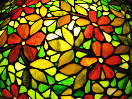 window stained glass flowers green yellow red