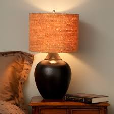natural woven lamp shades for contemporary bedroom with wood bedside table