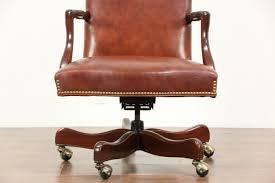 leather swivel adjule vintage mahogany desk chair signed hancock moore