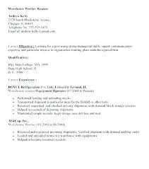Warehouse Associate Cover Letter Resume Objective Statement Examples