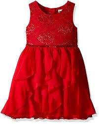Youngland Girls Sleeveless Lace To Chiffon Waterfall Dress With Sequin Waist