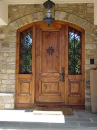 Exterior Amazing Wood Front Entry Door With Twin Sidelights And - Iron exterior door