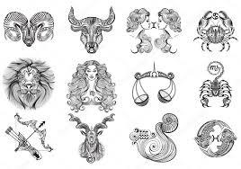 12 Znamení Zvěrokruhu Tetování Stock Vektor Gruberjan 54518999