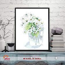 Tranh tô màu theo số sơn dầu số hóa Gam - Lọ hoa trắng đơn giản nhẹ nhàng  mã HL0557