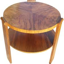 vintage round coffee table in walnut