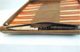 leather backgammon board black