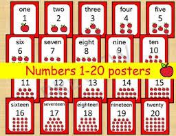 Preschool Wall Charts 20 Printable Numbers Posters Happy Apple Numbers 1 20 Wall Charts Classroom