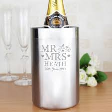 personalised snless steel wine cooler mr mrs