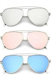 colored mirror flat lens aviator sunglasses 59mm zoom