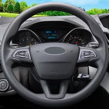 ford escape 2017 black. black leather hand-stitched car steering wheel cover for ford kuga escape 2017