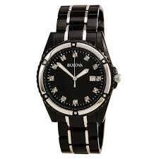 bulova 98d107 men 039 s black ip diamond watch black mother item information