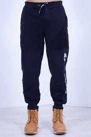Timberland X Raeburn Mens Black Cotton Pants With Sherpa Details