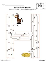 Uppercase Letter H Maze Worksheet Color