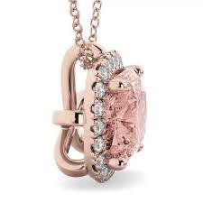 halo morganite cushion cut pendant necklace 14k rose gold 2 02ct ad4700