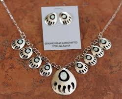 navajo created opal bear paw necklace