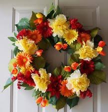 summer wreaths for front doorSummer Wreath Floral Decor  eBay