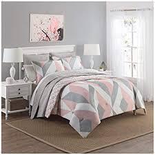 OSD 3pc Girls Light Pink Grey White Geometric Polkadot Theme Comforter Queen Set, Girly Abstract Shape Polka Dot Bedding, Gray, Stylish Modern Small ...