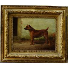 antique dog painting of an irish terrier by william henry hamilton trood 1860