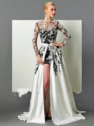 Sexy Long Sleeeves Prom Dress With A Line <b>Detachable</b> 2 In1 ...