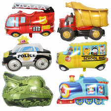 1pc cartoon car shape foil balloon fire truck train ambulance bus balloons children gifts birthday party