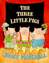 the three little pigs by james marshall is a great clic telling of the three little pigs my son loved the ilrations and chanted little pig little