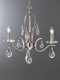 franklite fl2298 3 willow 3 light satin nickel and crystal chandelier
