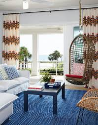 Image Royal Blue White And Blue Living Room With Rope Hanging Chair Decorpad White And Blue Living Room With Rope Hanging Chair Transitional