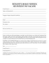 30 day notice to landlord form tenant 30 day notice to vacate form lobo black