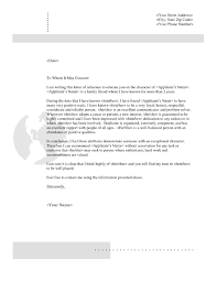 Example Of Reference Sample Character Reference Letter For A Friend Template Examples