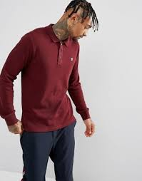 fila vintage polo. fila vintage long sleeve polo shirt in burgundy