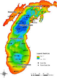 Lake Michigan Bathymetry Chart Bathymetry Map Of Lake Michigan Showing The Five Main