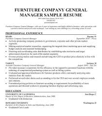 furniture sales resumes