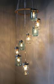 river rain mason jar chandelier hanging pendant swag light fixture cascading blue and clear glass lights lamp design maybe not with diy kit