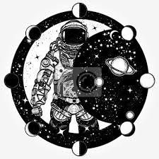 Fototapeta Astronaut Tetování A Design Trička Kosmonaut Ve Vesmíru Design