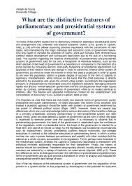 politics comparative politics presidential vs parliamentary essay distinctive features of parliamentary and presidential systems of government