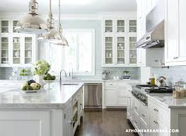 Bathroom Glamorous Kitchen With Classic White Cabinets Also Carrara Marble  Countertop Countertops Maintenance47