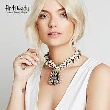 Artilady <b>natural shells pendant necklace</b> set vintage zinc <b>alloy</b> tassel ...