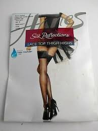 Hanes Thigh Highs Size Chart Hanes Silk Reflections Lace Top Thigh High Barely There