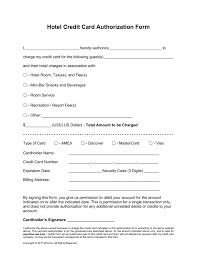 credit card authorization form templates hotel