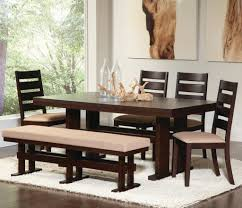 modern dining table with bench. Bench : Modern Dining Room Benches With Rectangle Wooden Table And Clear Bottles Wood Ornament On The Beside Cleare Window Two